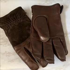 Men's Chocolate Leather & Suede Gloves